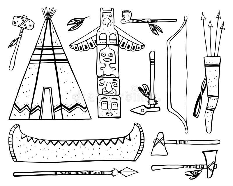 Rodowitych Amerykan tradycyjni przedmioty Wigwam, totemu słup, czółno, bronie Wektorowa ręka rysujący konturu nakreślenia ilustra ilustracja wektor