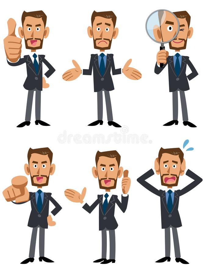 6 rodzajów pozy i gesty biznesmeni brown i brodaci royalty ilustracja