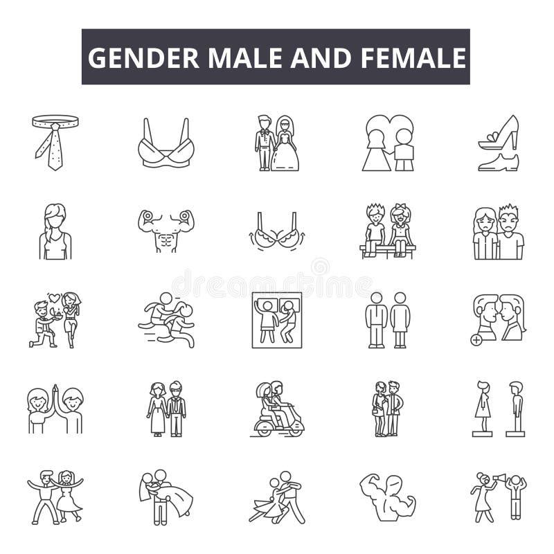 Rodzaj kobiety i samiec kreskowe ikony, znaki, wektoru set, liniowy pojęcie, kontur ilustracja ilustracji