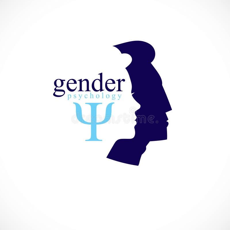 Rodzaj psychologii pojęcie tworzący z głowa profilami, wektorowy logo, symbol, lub związków konflikty i problemy ilustracji