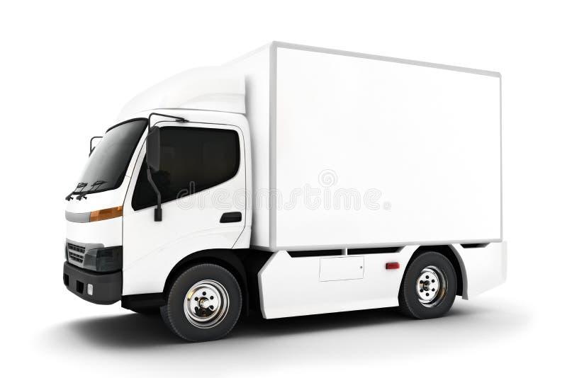 Rodzajowa biała przemysłowa transport ciężarówka na białym tle Pokój dla teksta lub kopii przestrzeni fotografia stock