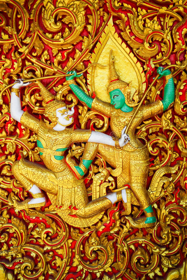 Rodzajowa Ramayana sztuki Tajlandzka rzeźba fotografia stock