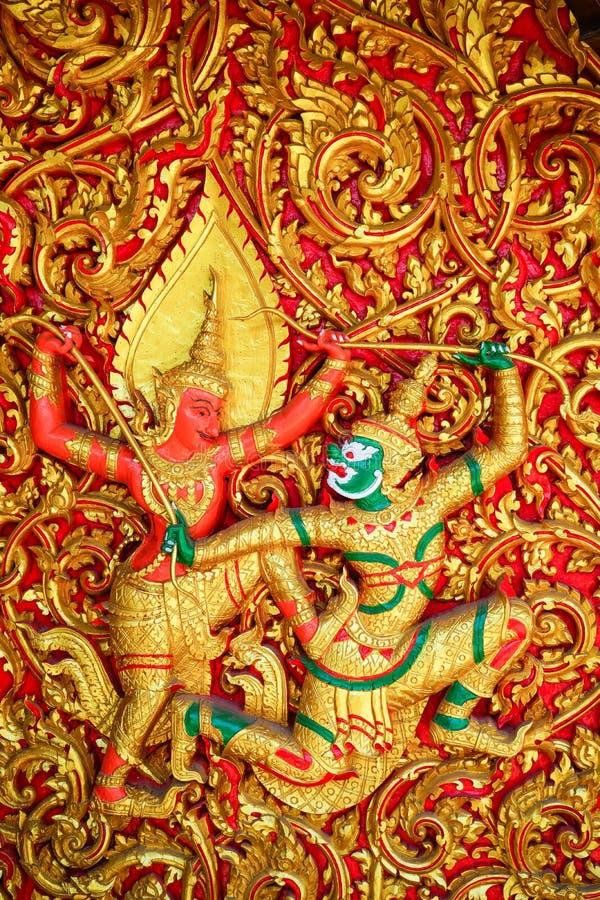 Rodzajowa Ramayana sztuki Tajlandzka rzeźba zdjęcie royalty free