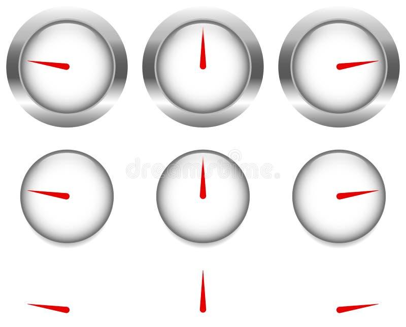 Rodzajowi wymierniki, tarcze z czerwoną zegarową ręką, pointer royalty ilustracja