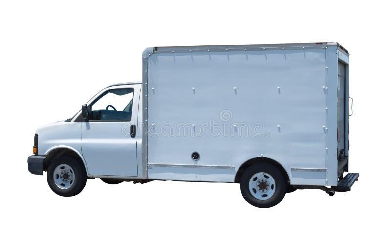 Rodzajowy biały chodzenie ciężarówki samochód dostawczy odizolowywający na białym tle zdjęcie royalty free
