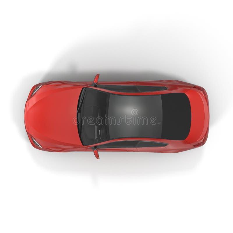 Rodzajowy czerwony samochód - odgórny widok na białej 3D ilustraci zdjęcia stock