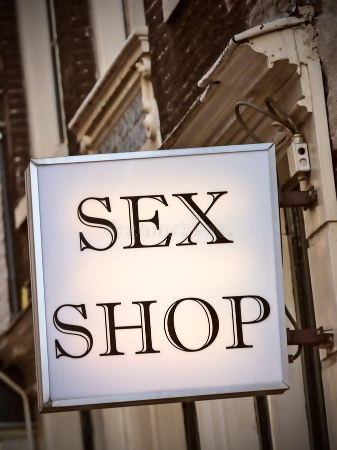 Rodzajowy płeć sklep podpisuje wewnątrz Amsterdam zdjęcie royalty free