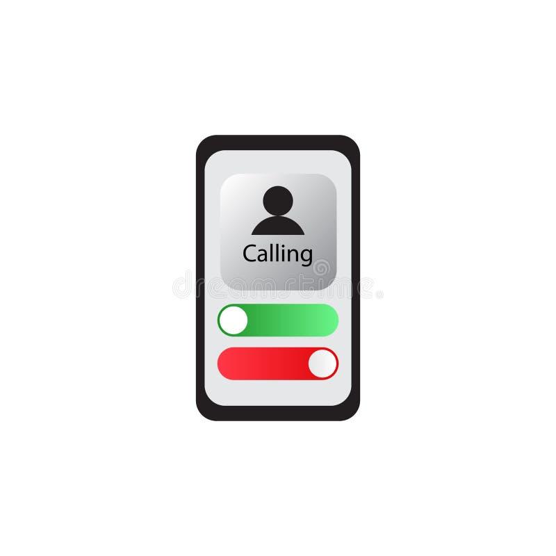 Rodzajowy Przybywaj?cy rozmowa telefonicza ekranu interfejs u?ytkownika UI wektor royalty ilustracja
