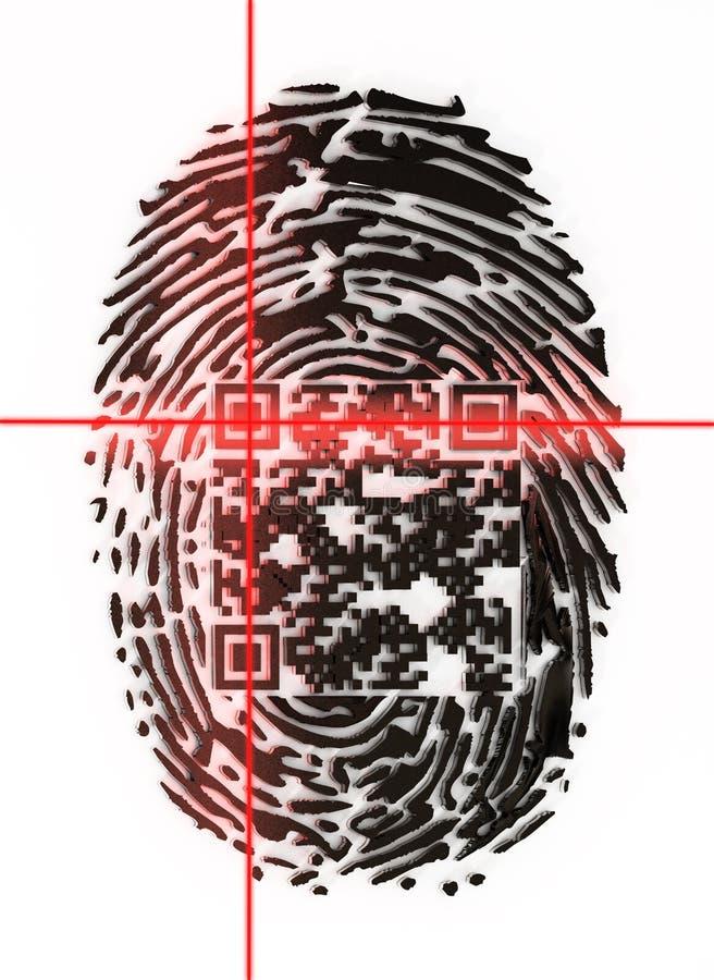 Rodzajowy QR kod wśrodku odcisk palca skanuje ilustracja 3 d ilustracja wektor