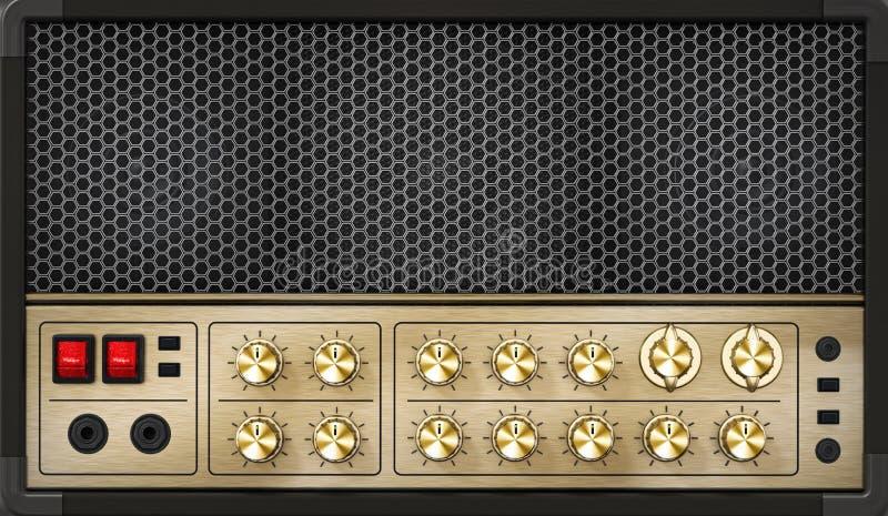 Rodzajowy rocznika odczucia gitary amplifikator z 3D ilustracją ilustracji