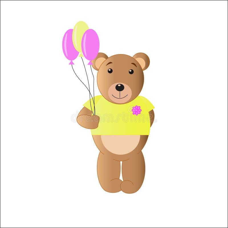 Rodzaju niedźwiedź w żółtej koszulce z balonami royalty ilustracja
