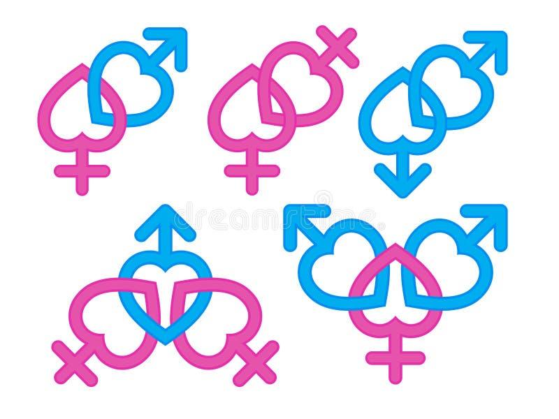 Rodzaju symbol: Męska i żeńska symbol kombinacja ilustracji
