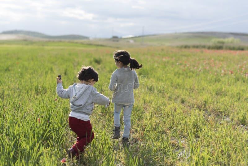 Rodzeństwa bawić się w maczkach obrazy stock