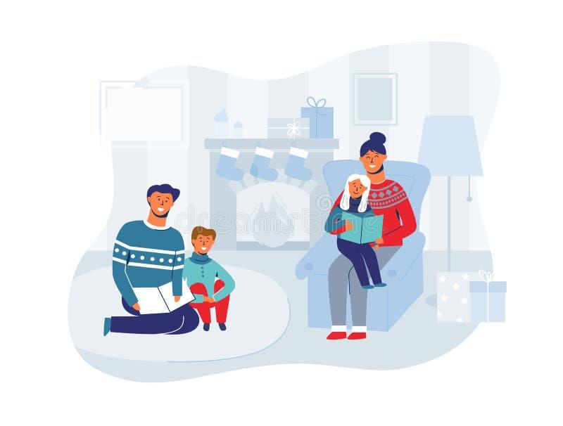 Rodzic Czytelnicze książki z dziećmi na wigilii w domu Zima wakacji Szczęśliwi charaktery zbliżają grabę ilustracji