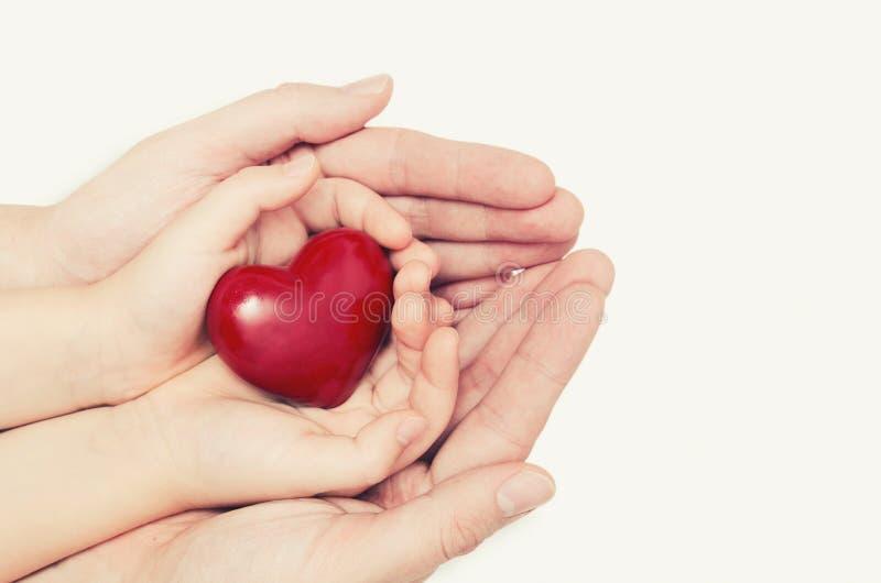 Rodzica i dziecka mienia serce w ręce zdjęcie royalty free