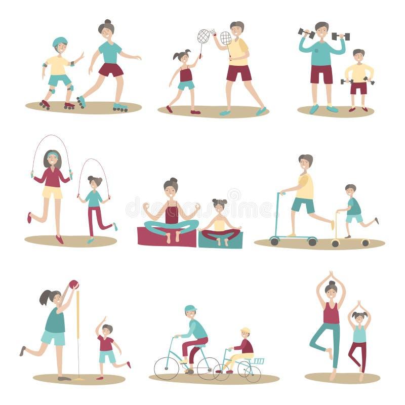 Rodzice i dzieci wpólnie robi odtwarzaniu outdoors sporta i aktywnego Wektorowy ilustracja set, odizolowywający na bielu ilustracja wektor