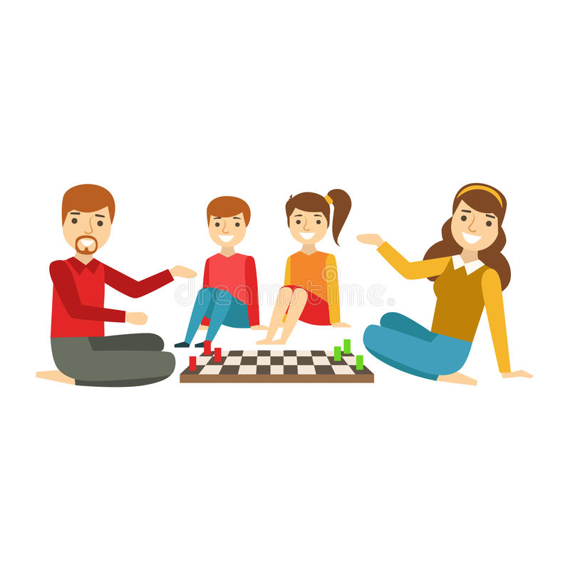 Rodzice I dzieciaki Bawić się szachy, Szczęśliwa rodzina Ma Dobrą czas ilustrację Wpólnie ilustracji