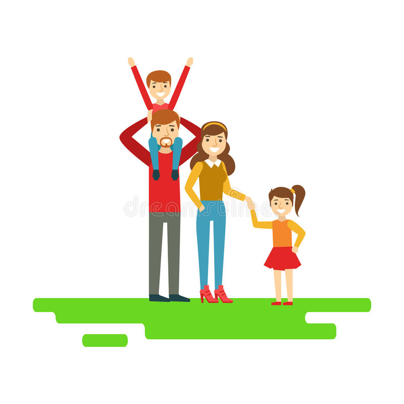 Rodzice I dzieciaki Trzyma ręki W parku, Szczęśliwa rodzina Ma Dobrą czas ilustrację Wpólnie ilustracja wektor