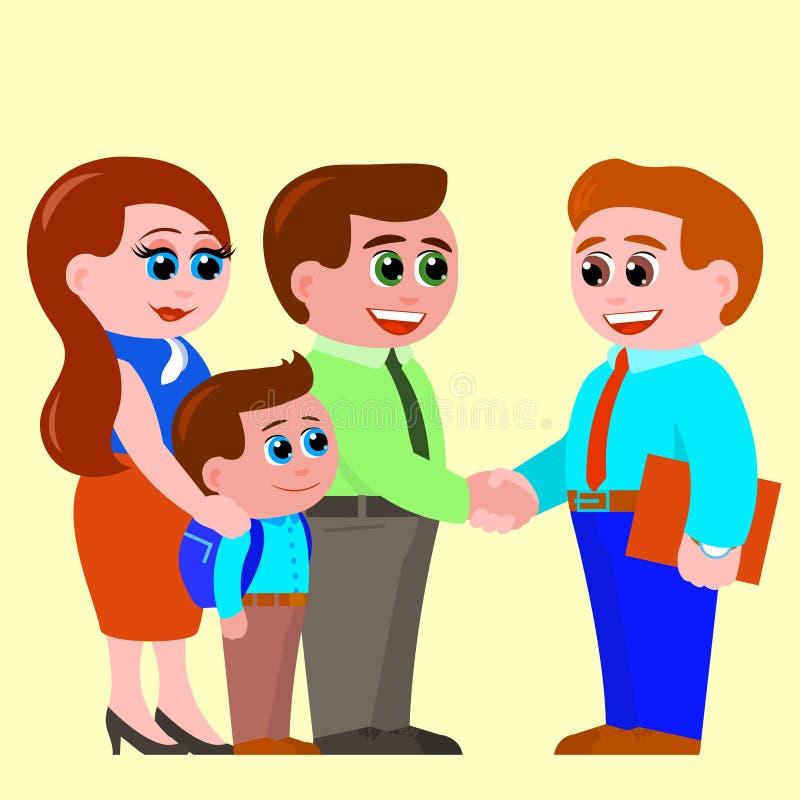 Rodzice i mały syn dostają obeznanymi z nauczycielem obrazy stock