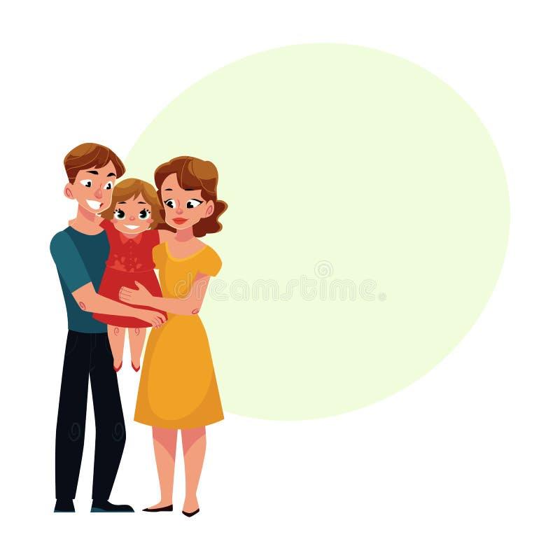 Rodzice mama i tata trzyma małej córki, kochający rodzinny portret ilustracja wektor