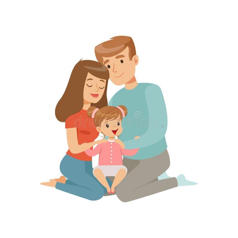 Rodzice obejmuje ich córki, matki i ojca przytulenia dziecka, szczęśliwa rodzinnego pojęcia wektorowa ilustracja na bielu royalty ilustracja