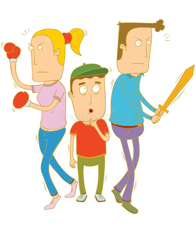 Rodzice ochrania ich dzieci ilustracji