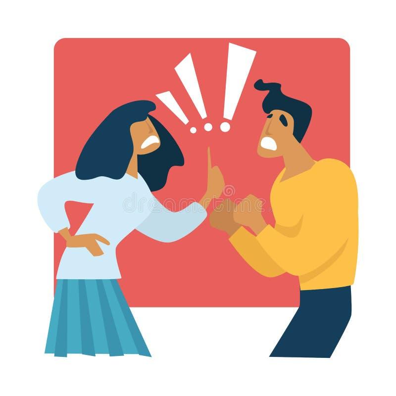 Rodzice walczy i rozwodowy rodzinny kryzysu małżeństwa wygaśnięcie royalty ilustracja