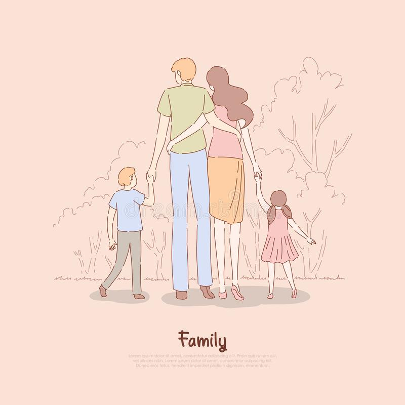 Rodzice z dziećmi trzyma ręki, para z dzieciaka stojakiem wpólnie popierają widok, matka ojciec, syn, córka, wychowywa royalty ilustracja