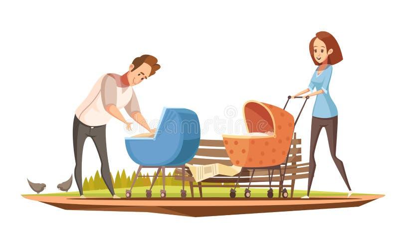 Rodzicielstwa Oudoor kreskówki Retro plakat ilustracja wektor