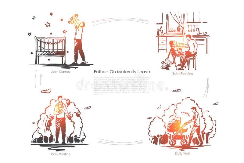Rodzicielstwo, wychowanie dziecka, dziecka karmienie, dzienna rutyna, rodzic z dzieckiem na spacerze, babysitting, ojcostwo sztan ilustracji