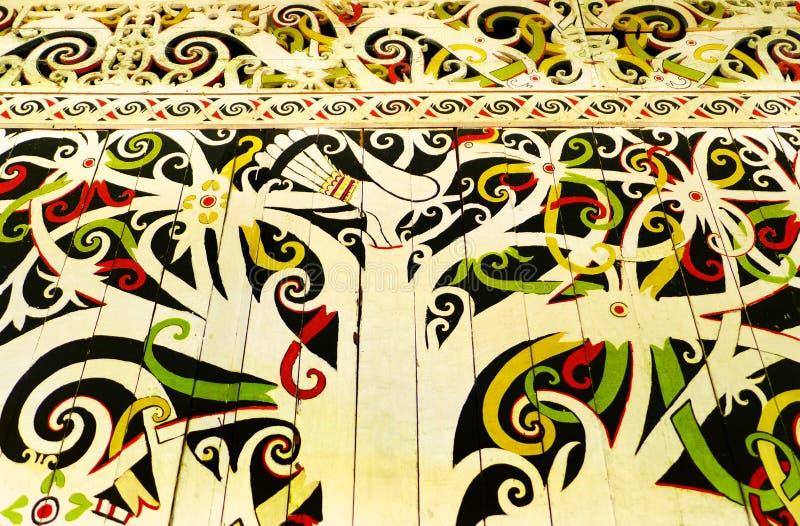 Rodzima Borneo sztuka, ścienny dzioborożec malowidło ścienne obraz stock