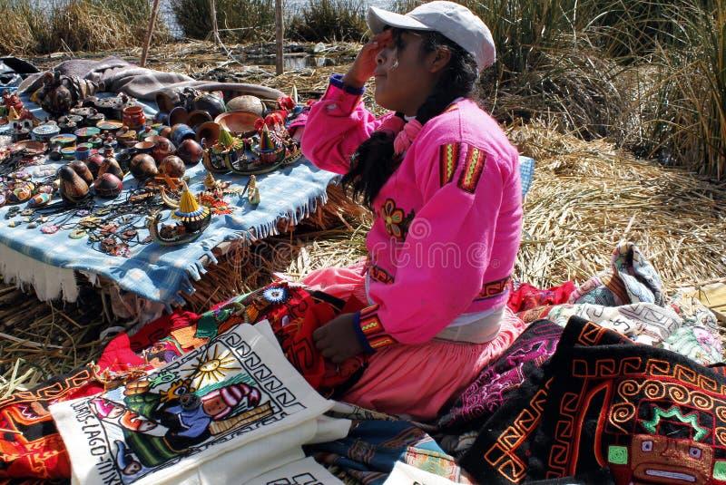 Rodzima Uros kobieta, Peru fotografia stock