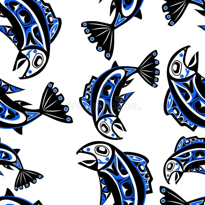 Rodzimy łososiowy Wektorowy bezszwowy wzór ilustracji