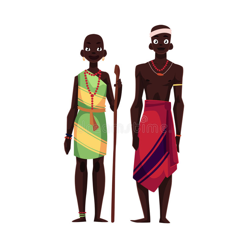 Rodzimy czarny tubylczy mężczyzna i kobieta od Afrykańskiego plemienia ilustracji