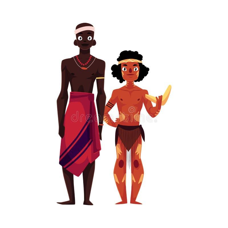 Rodzimy czerń skinned Afrykańskiego plemiennego mężczyzna i australijczyka aborygenu royalty ilustracja