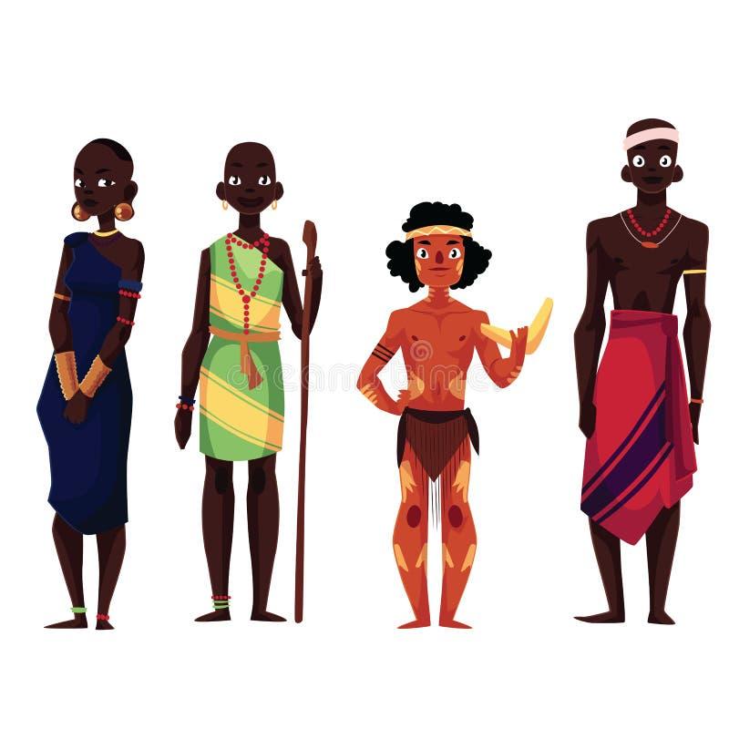 Rodzimy czerń skinned ludzi Afrykańscy plemiona i Australijski aborygen ilustracji