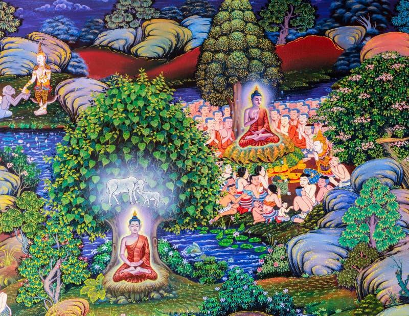 Rodzimy Tajlandzki Buddyjski malowidło ścienne obraz życie Buddha zdjęcia stock