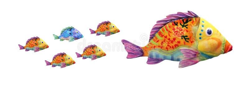 Rodzina łowi z Różną ryba royalty ilustracja