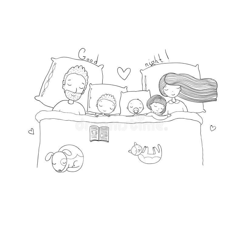 rodzina śpi Mama, tata i dzieci, słodki sen ilustracji