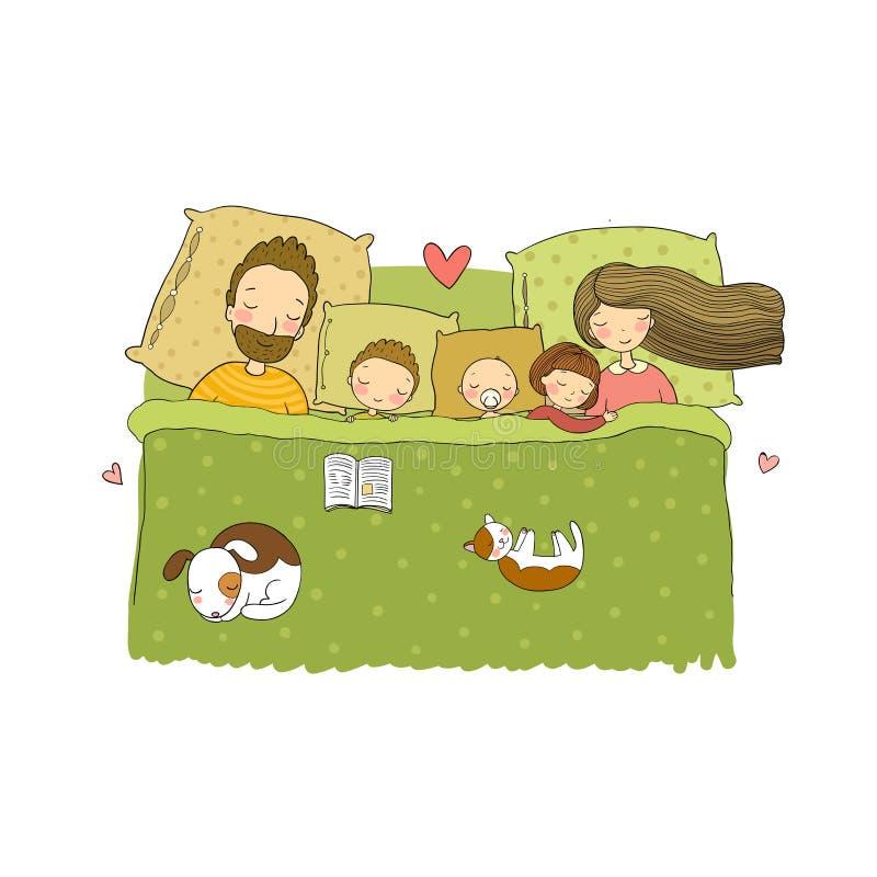 rodzina śpi Mama, tata i dzieci, słodki sen ilustracja wektor
