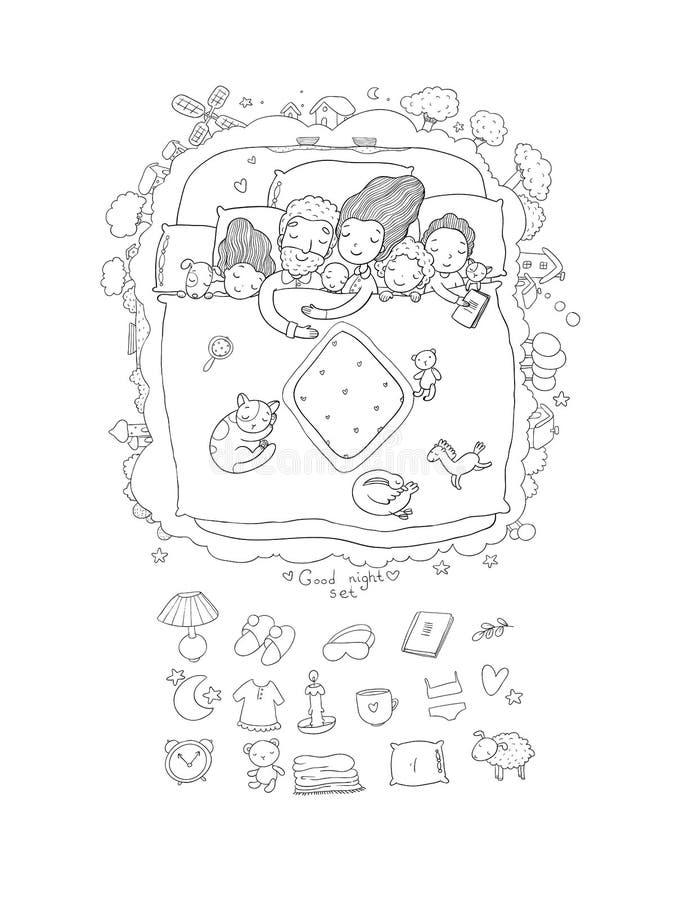 Rodzina śpi w łóżku Kreskówki mama, tata i dzieci, royalty ilustracja