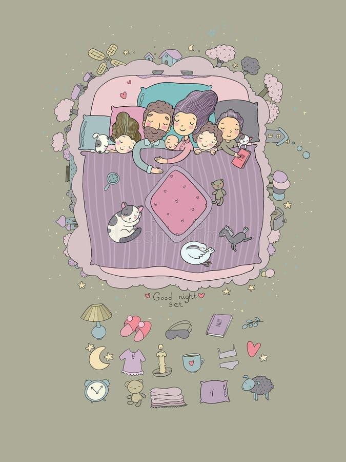 Rodzina śpi w łóżku Kreskówki mama, tata i dzieci, ilustracja wektor