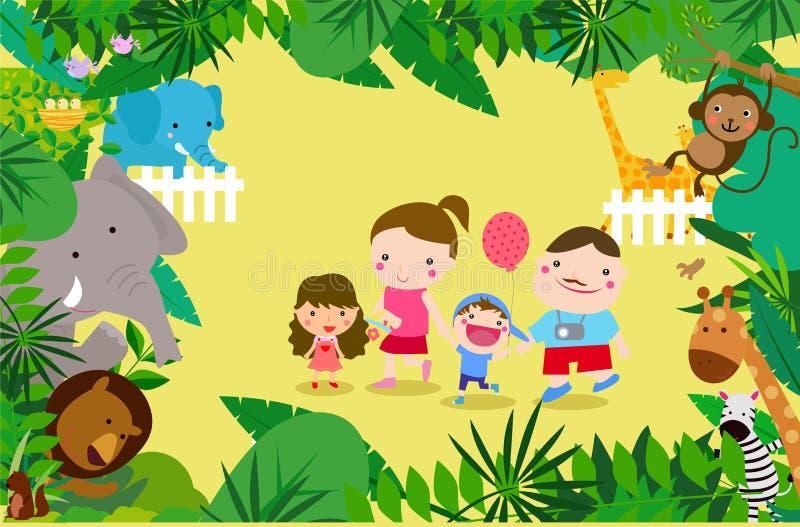Rodzina bawić się w zoo ilustracji