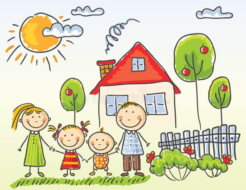 Rodzina blisko ich domu royalty ilustracja