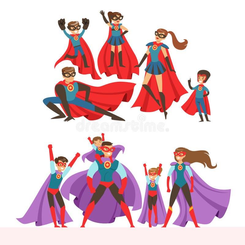 Rodzina bohatera set Uśmiechający się rodziców i ich dzieci ubierał w bohaterów kostiumów kolorowym wektorze royalty ilustracja