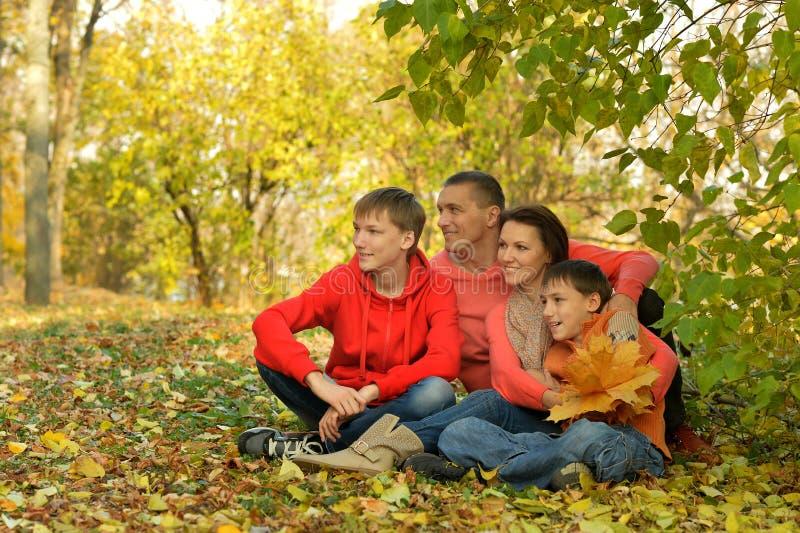 Rodzina czwórki relaksujących się w jesiennym parku zdjęcia royalty free