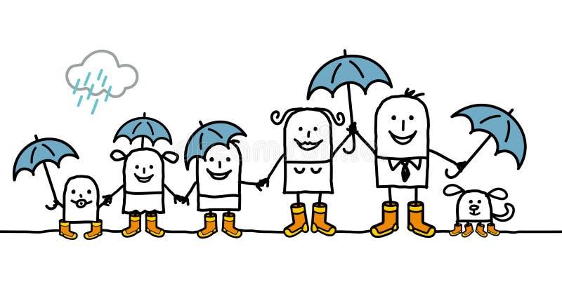 rodzina deszcz ilustracji