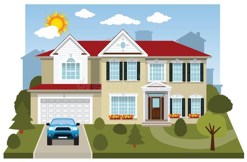 Rodzina dom (diorama) royalty ilustracja