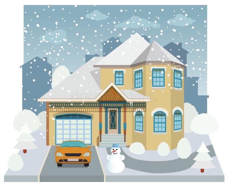 Rodzina dom w zimie (diorama) royalty ilustracja