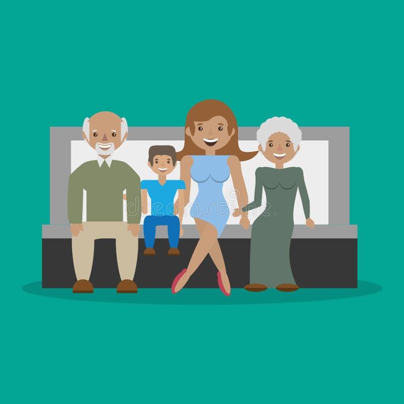 Rodzina - dziadkowie z mama syna kanapy siedzący ono uśmiecha się ilustracja wektor